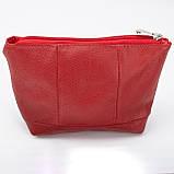 Кожаная косметичка с подкладкой, цвет Красный, фото 2