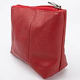 Кожаная косметичка с подкладкой, цвет Красный, фото 3