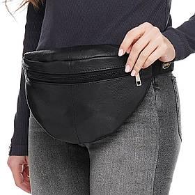 Кожаная сумка на пояс Круг, цвет Черный