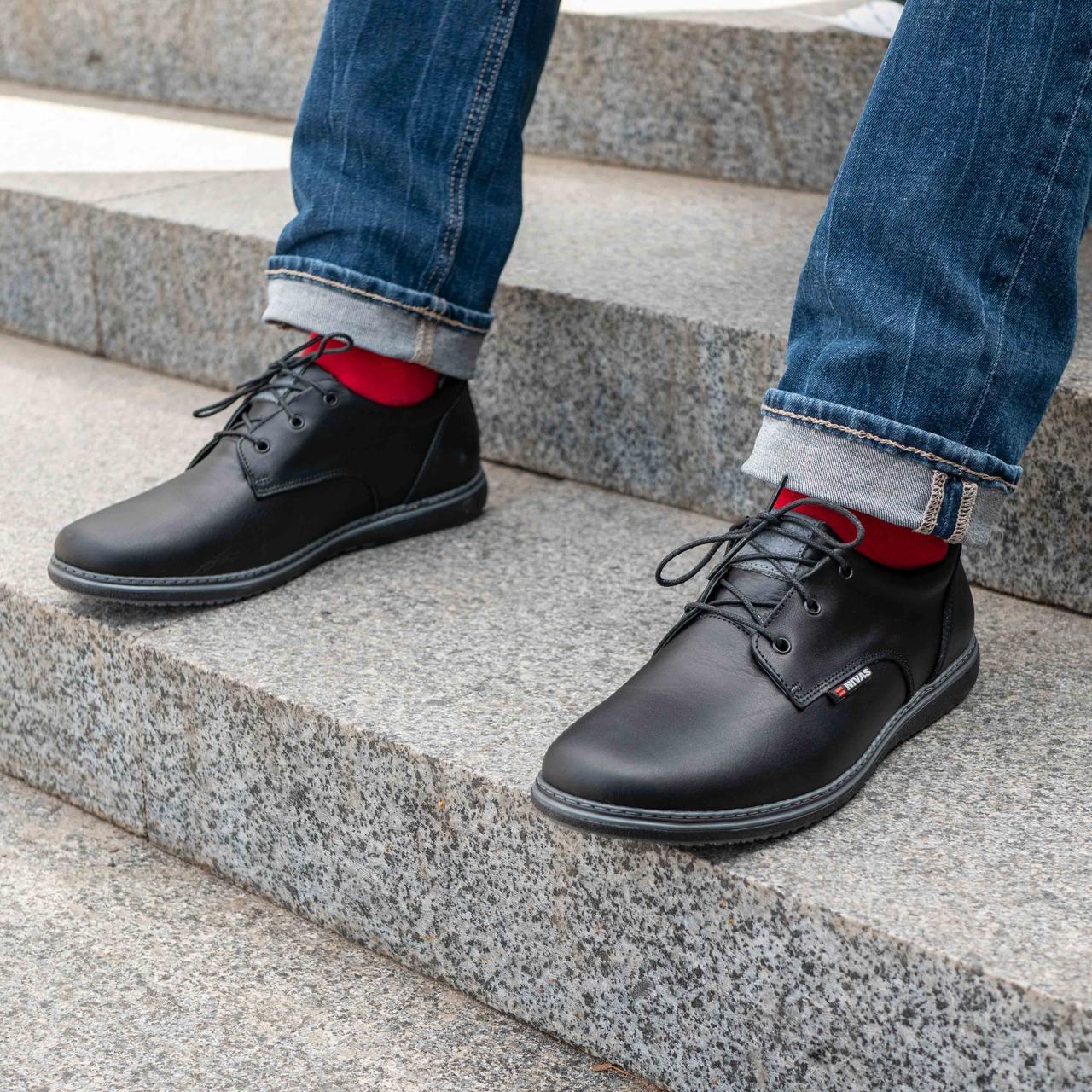 Мужские кожаные туфли из натуральной кожи  40-45 чёрный тайфун