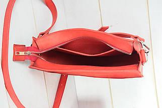 Сумка женская. Кожаная сумочка Фуксия Кожа Итальянский краст цвет Красный, фото 3