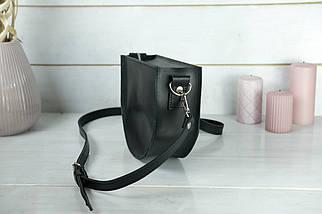Сумка женская. Кожаная сумочка Фуксия Кожа Итальянский краст цвет Черный, фото 3