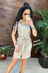 Літнє плаття - сорочка з коротким рукавом та поясом (р. 44-54) 90032316