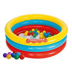 Дитячий надувний басейн Bestway 93501 «Лисеня», 91 х 25 см, з кульками 25 шт.