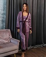 Жіноча велюрова піжама трійка: халат майка і штани, фото 1