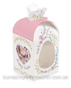 """Великодній коробка """"Рожева пташка"""", мішечок, 110х110х140 мм"""