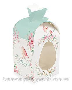 """Пасхальная коробка """"Голубая птичка"""", мешочек, 110х110х140 мм"""