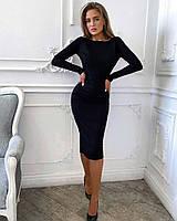 Платье трикотажное однотонное женское ЧЁРНОЕ (ПОШТУЧНО), фото 1
