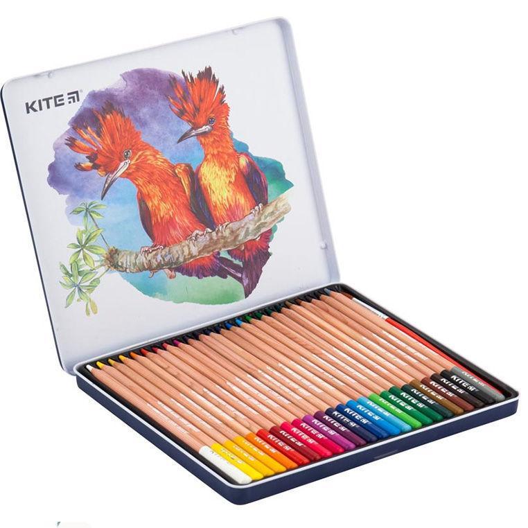 Карандаши цветные акварельные 24цв. Kite мод 1053 Птицы в мет. пенале K18-1053