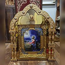 Икона на жертвенник в киоте из булата с декором