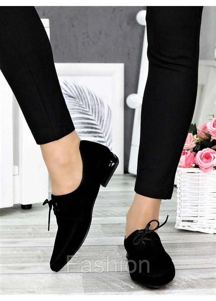 Туфли черные женские замша