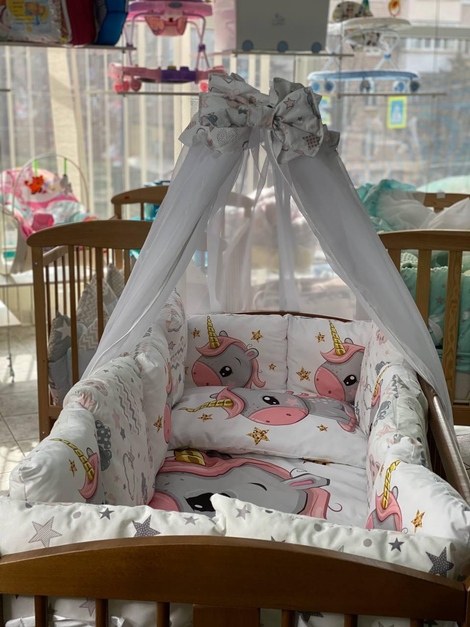 Детский постельный комплект в кроватку, Детский комплект в кроватку для новорожденного Единорог