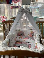 Детский постельный комплект в кроватку, Детский комплект в кроватку для новорожденного Единорог, фото 1