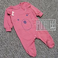 Теплий чоловічок р 62 1 2 3 місяців на флісі з начосом дитячий комбінезон чоловічок для дівчинки ФУТЕР 5013