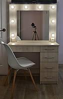 Туалетный столик и макияжное зеркало с подсветкой 5 ящиков Дуб Шамони светлый 900 мм