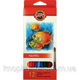 """Карандаши цветные акварельные 3716 MONDELUZ """"Рыбки"""", 12 цветов, картонная упаковка"""