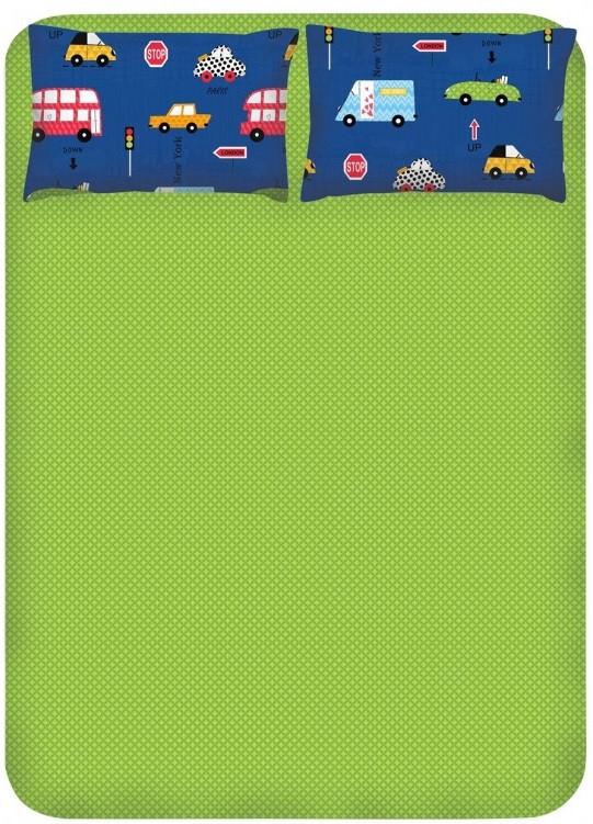 Простирадло з наволочками Enlora Home - Paula mavi синій 240*260 євро