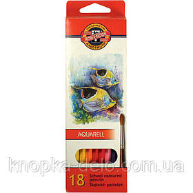 """Карандаши цветные акварельные  3717  MONDELUZ """"Рыбки"""", 18 цветов, картонная упаковка"""
