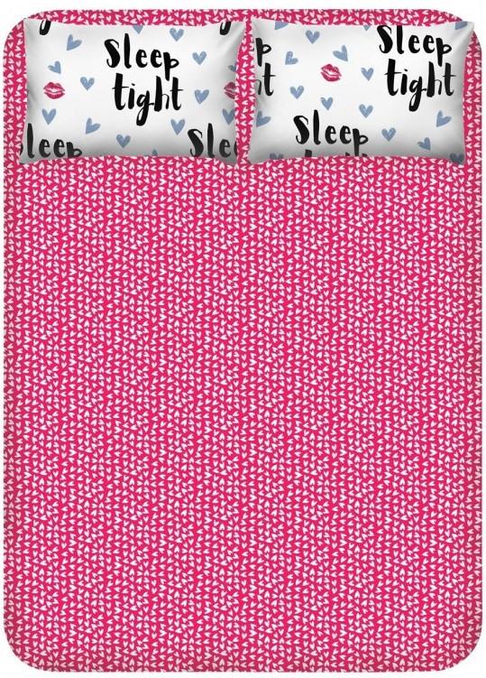 Простирадло з наволочками Enlora Home - Sleep Tight fusya-beyaz фуксія 240*260 євро