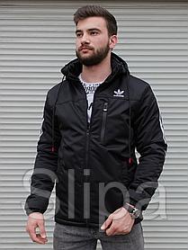 Мужская утеплённая ветровка Adidas чёрная