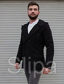 Мужское пальто тренч чёрного цвета с глубоким капюшоном , на пуговицах