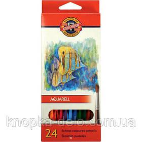 """Карандаши цветные акварельные 3718 MONDELUZ """"Рыбки"""", 24 цвета, картонная упаковка."""