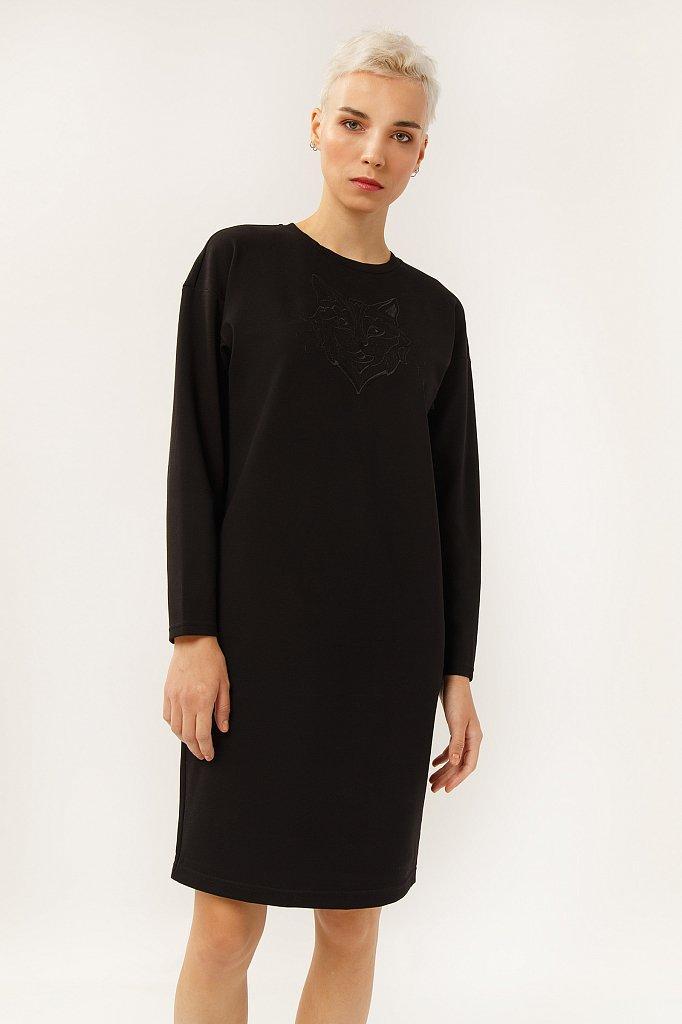 Літнє плаття міді з довгим рукавом Finn Flare A19-32051-200 офісне прямого крою чорне