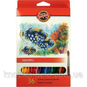"""Карандаши цветные акварельные 3719  MONDELUZ """"Рыбки"""", 36 цветов, картонная упаковка"""