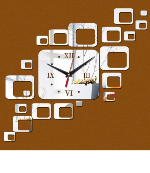 """Часы зеркальные серебристые """"прямоугольники зеркальные"""" , часы наклейки прямоугольники (до 70см)"""