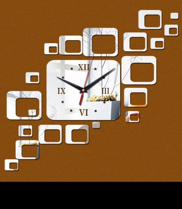 """Часы зеркальные серебристые """"прямоугольники зеркальные"""" , часы наклейки прямоугольники (до 70см), фото 2"""