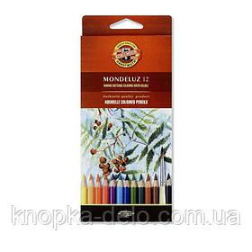 Карандаши цветные акварельные художественные MONDELUZ   3716012001KS , 12 цветов