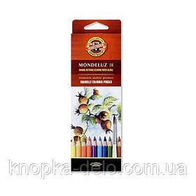 Карандаши цветные акварельные художественные MONDELUZ  3717018001KS , 18 цветов