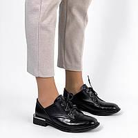 Жіночі туфлі,лофери на шнурках,натуральна шкіра, чорні, фото 1
