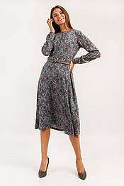 Летнее платье миди с длинным рукавом из вискозы Finn Flare A19-12091-602 коричневое
