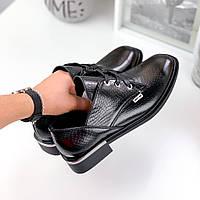 Женские туфли,лоферы на шнурках,натуральная кожа черные, фото 1
