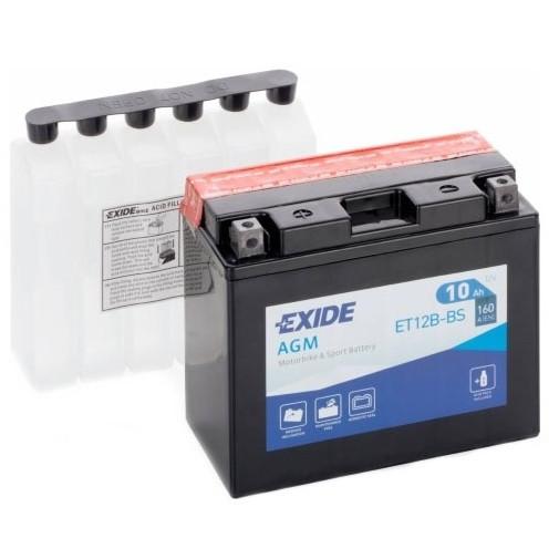Мото аккумулятор EXIDE 12 V 10 Ah 160 A (+/-) 150х70х130 мм (YT12B-BS/ ET12B-BS)
