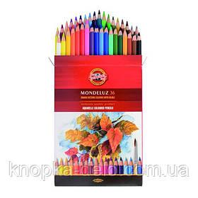 Карандаши цветные акварельные художественные MONDELUZ  3719036001KZ , 36 цветов