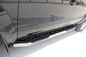 Fiat Fullback 2016↗ рр. Бічні пороги Amazon Silver (2 шт., нерж) 70 мм
