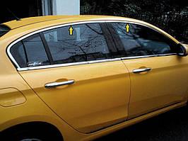 Fiat Tipo 2016↗ рр. Верхні молдинги стекол (нерж) Sedan/HB (4 штуки)