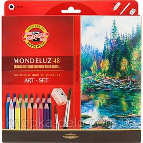 Карандаши цветные 3713 акварельные художественные MONDELUZ, 48 цветов
