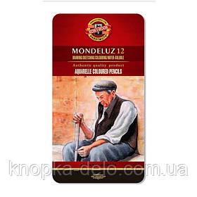 Карандаши цветные 3722  акварельные художественные, 12 цветов, подарочная металлическая упаковка