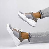 Кроссовки женские замшевые бежевые, фото 1