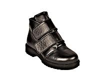 Ботинки кожаные детские для мальчика на липучках черные 233120