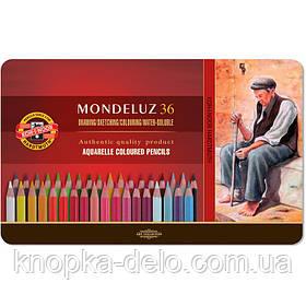 Карандаши цветные 3725 акварельные художественные, 36 цветов, подарочная металлическая упаковка