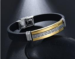 """Каучуковый браслет """"Arabic"""" со вставками из нержавеющей стали (золото)"""
