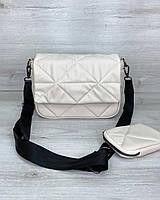 Женская сумка Роуз с кошельком экокожа 25*17*9 см бежевый