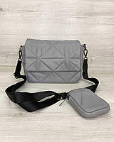 Женская сумка Роуз с кошельком экокожа 25*17*9 см серый