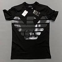 Мужская брендовая футболка EMPORIO ARMANI черная