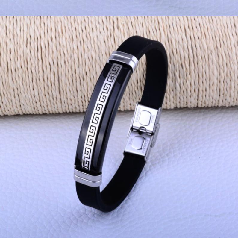 """Каучуковый браслет """"Arabic"""" со вставками из нержавеющей стали (черный)"""