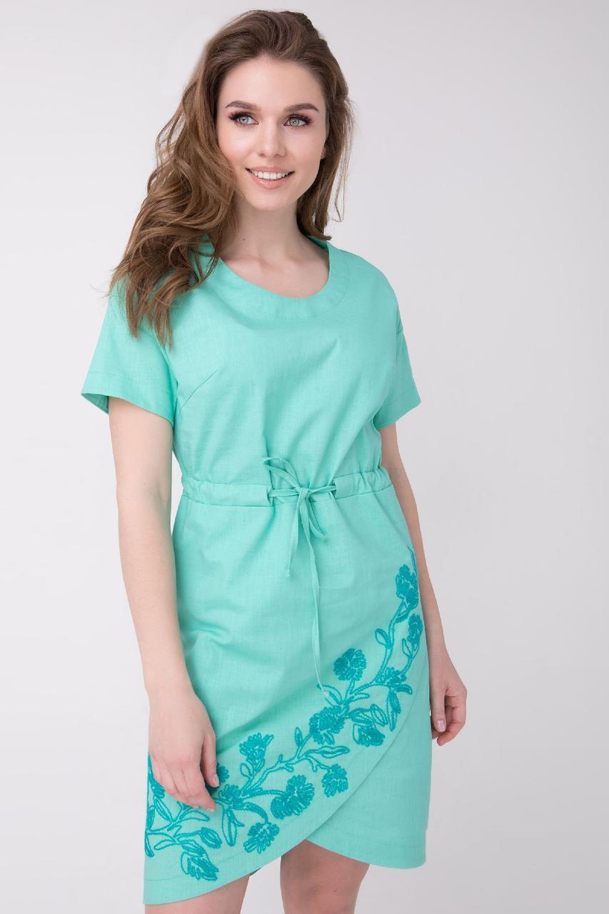 Женское Летнее Платье С Вышивкой Мятное